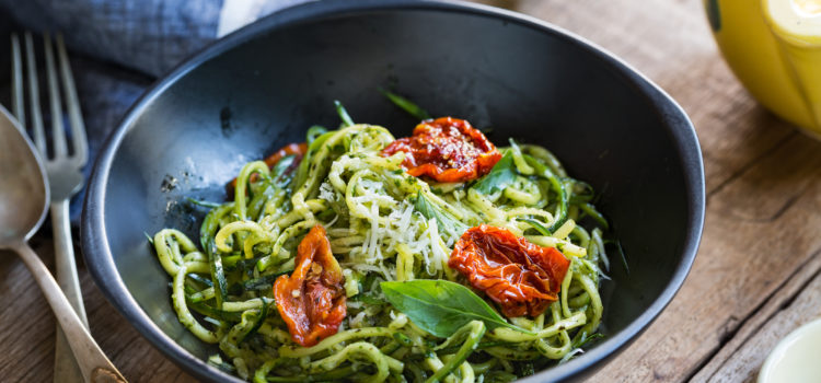 Low Calorie Pesto Pasta with Zucchini Ribbons
