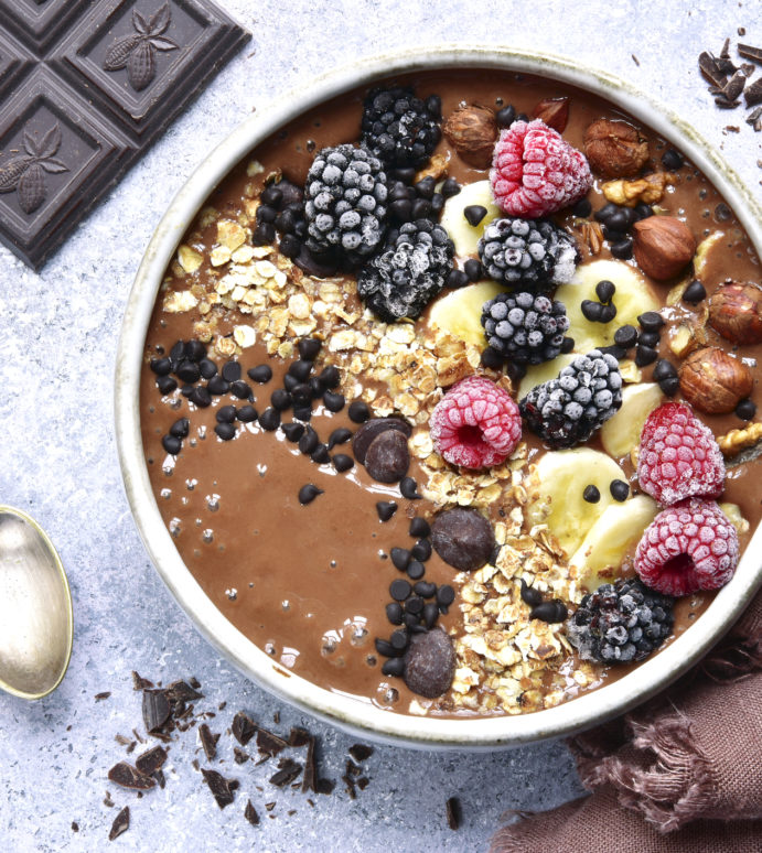 Hidden Veg Chocolate Smoothie Bowl with Green Bananas